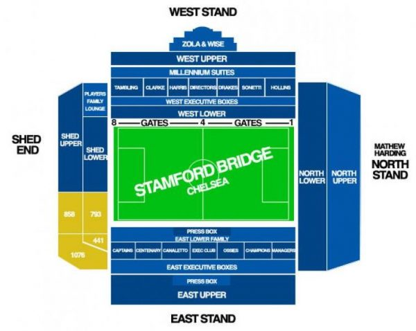 chelsea west upper seat ticket